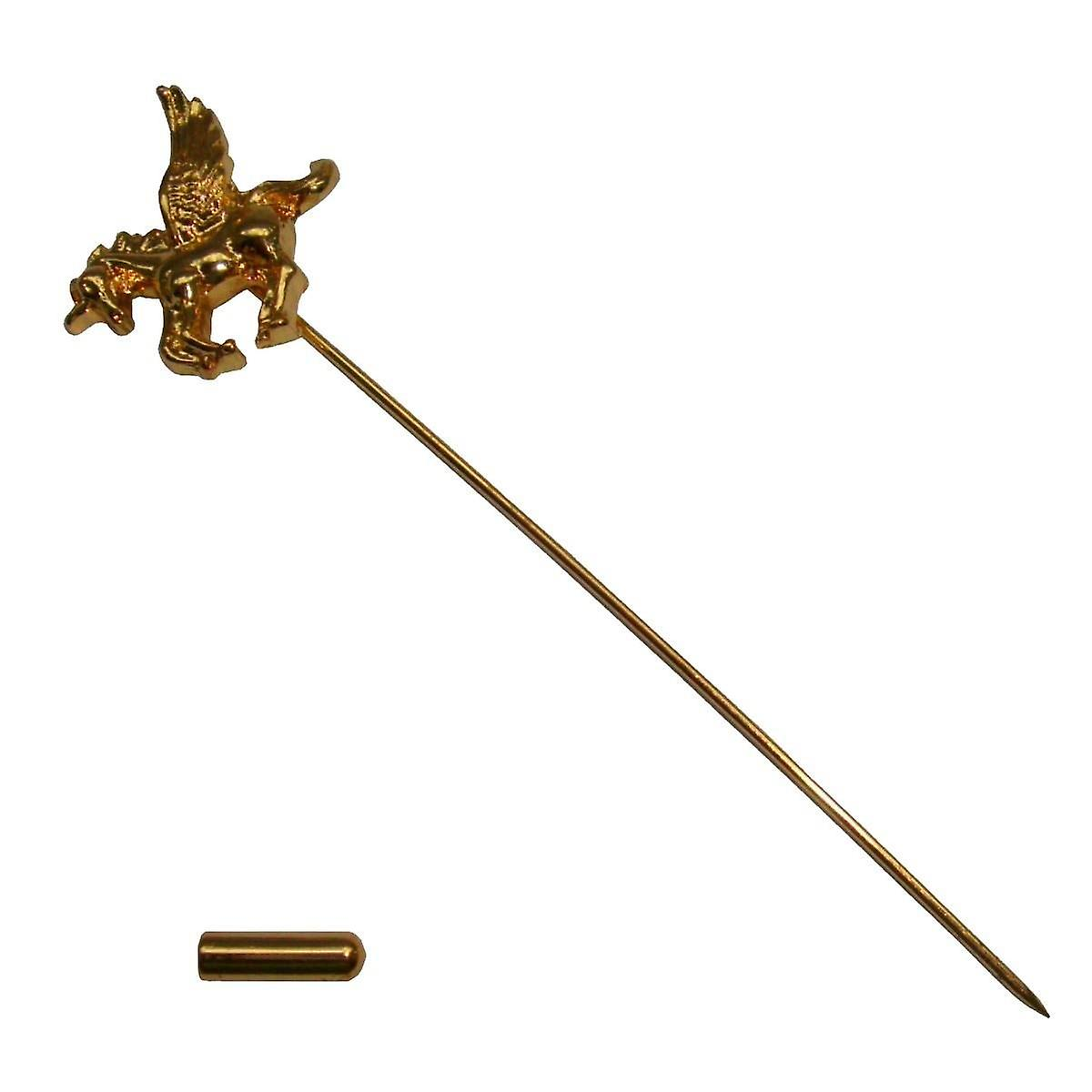 Bassin and Brown Unicorn Lapel Pin - Gold