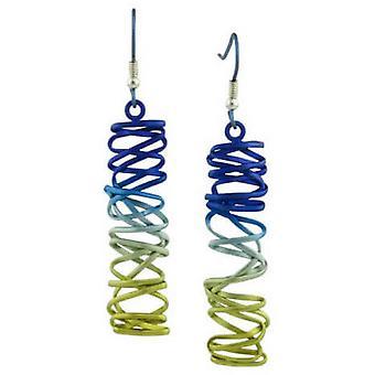 Ti2 Titanium Rectangle Chaotic Drop Earrings - Rainbow A