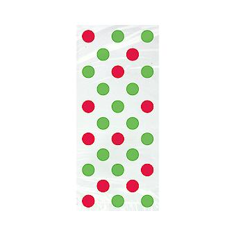 20 Cellophane Party Bags - Christmas Red & Green Spot