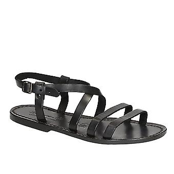 Women's black leather sandals handmade in Italy
