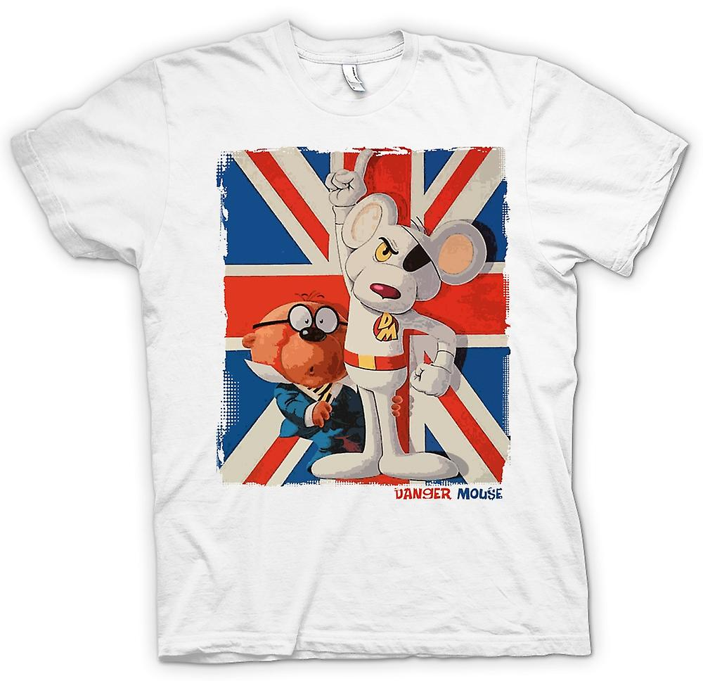 Womens T-shirt - Danger Mouse and Penfold - Union Jack - Retro