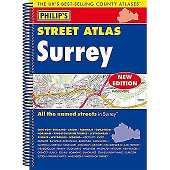 Philip's Street Atlas Surrey: Spiral Edition (Philip's Street Atlases)