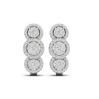 IGI-Certified-DeCouer-1/2-Ct-TDW-Diamond-10K-White-Gold-Trio-Cluster-Halo-Hoop-Earrings-(H-I,-I2)