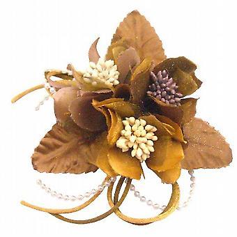 Braut Haarschmuck Hochzeit Kleid Brosche Pin In Latte & Gold Farbe