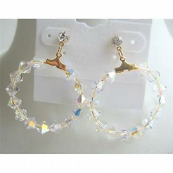 Cristales bicono Swarovski AB 22 k oro plateado aro pendientes