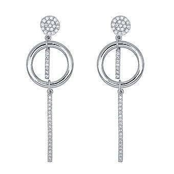 Ah! Jewellery Long Dangle Hoop Crystals from Swarovski Earrings Sterling Silver
