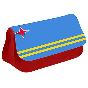 Aruba Flag Printed Design Pencil Case for Stationary/Cosmetic - 0199 (Red) by i-Tronixs