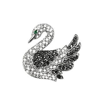 Eternal Collection Swan Lake Austrian Crystal Silver Tone Bird Brooch