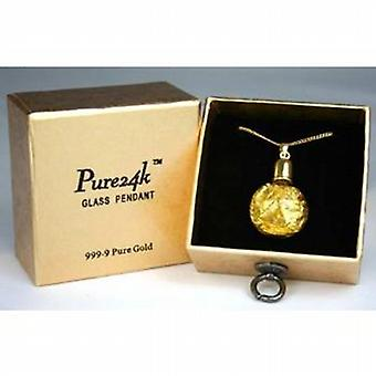 Pure 24K Liquid Gold 99.9% Gold Leaf In Pendant on 18 Inch Plated Chain