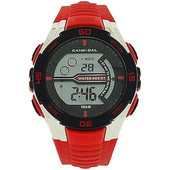 Cannibal Active Teen Boy's Digital Chronograph Red Plastic  Strap Watch CD239-06