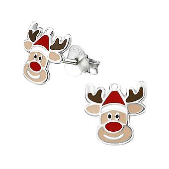 Cute Reindeer Christmas Sterling Silver Stud Earrings
