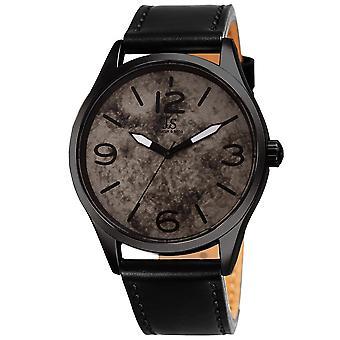 Joshua & Son's JX144BK Quartz Marble Dial Leather Strap Watch