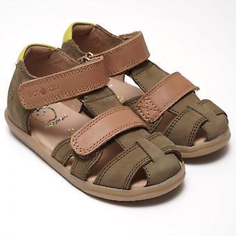 肖庞由庞德阿波斯;阿皮皮卡划痕努巴克凉鞋,卡基/骆驼/柠檬