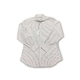 Pal Zileri shirt in white with beige woven stripe