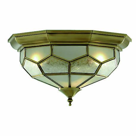 2 lumière Flush Ceiling lumière Antique Brass