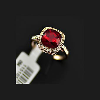 18K Gold Plated Square Stellux Ruby Crystal Ring