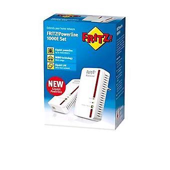 Avm fritz! powerline 1000e set international 2x ethernet adapters power supply 1 lan port rj-45 1,000 mbps white color