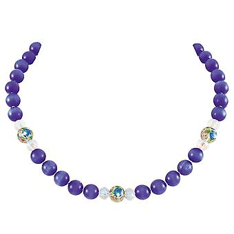 Eternal Collection Serene Deep Blue Cats Eye Beaded Silver Tone Statement Necklace