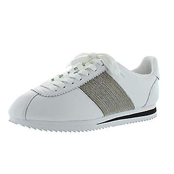 DKNY Womens Tezie Leather Embellished Fashion Sneakers White 9 Medium (B,M)