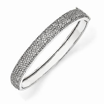 925 Sterling Silver Hinged Rhodium-plated Box Catch Closure Cubic Zirconia Bangle Bracelet