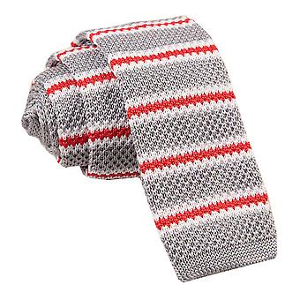 Men's Knitted Silver with Red & White Thin Stripe Tie