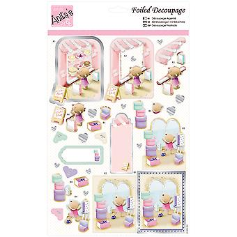 Anita's A4 Foiled Decoupage Sheet-Shopping For Cake A169639