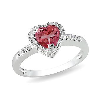 Affici Sterling Silver Heart Halo Ring 18ct White Gold Plated ~ Heart Cut Ruby CZ Gem