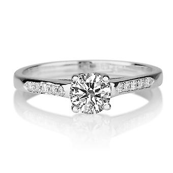 Moissanite Ring Forever One Colorless VVS  0.55 CTW 5.00MM with Diamonds 14K White Gold