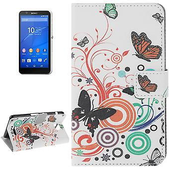 Phone Case Bag for Cell Phone Sony Xperia E4 butterflies colored