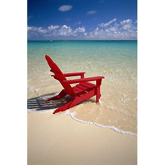 Red Beach Chair Along Shoreline Turquoise Ocean Calm PosterPrint