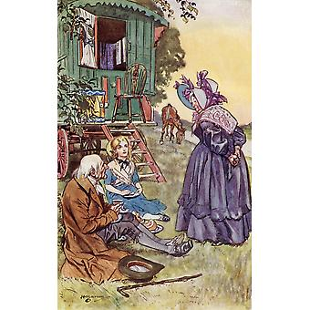 Tea With Mrs Jarley Frontispiece By HM Brock From The Book The Old Curiosity Shop By Charles Dickens PosterPrint