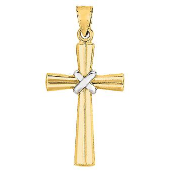 14k 2 Tone Gold Shiny Finish Cross Pendant