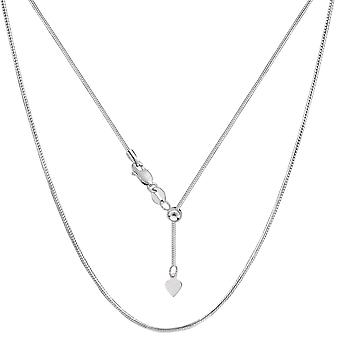 Sterling Silver Rhodium Plated Sliding Adjustable Snake Chain Necklace, Width 1.2mm, 22