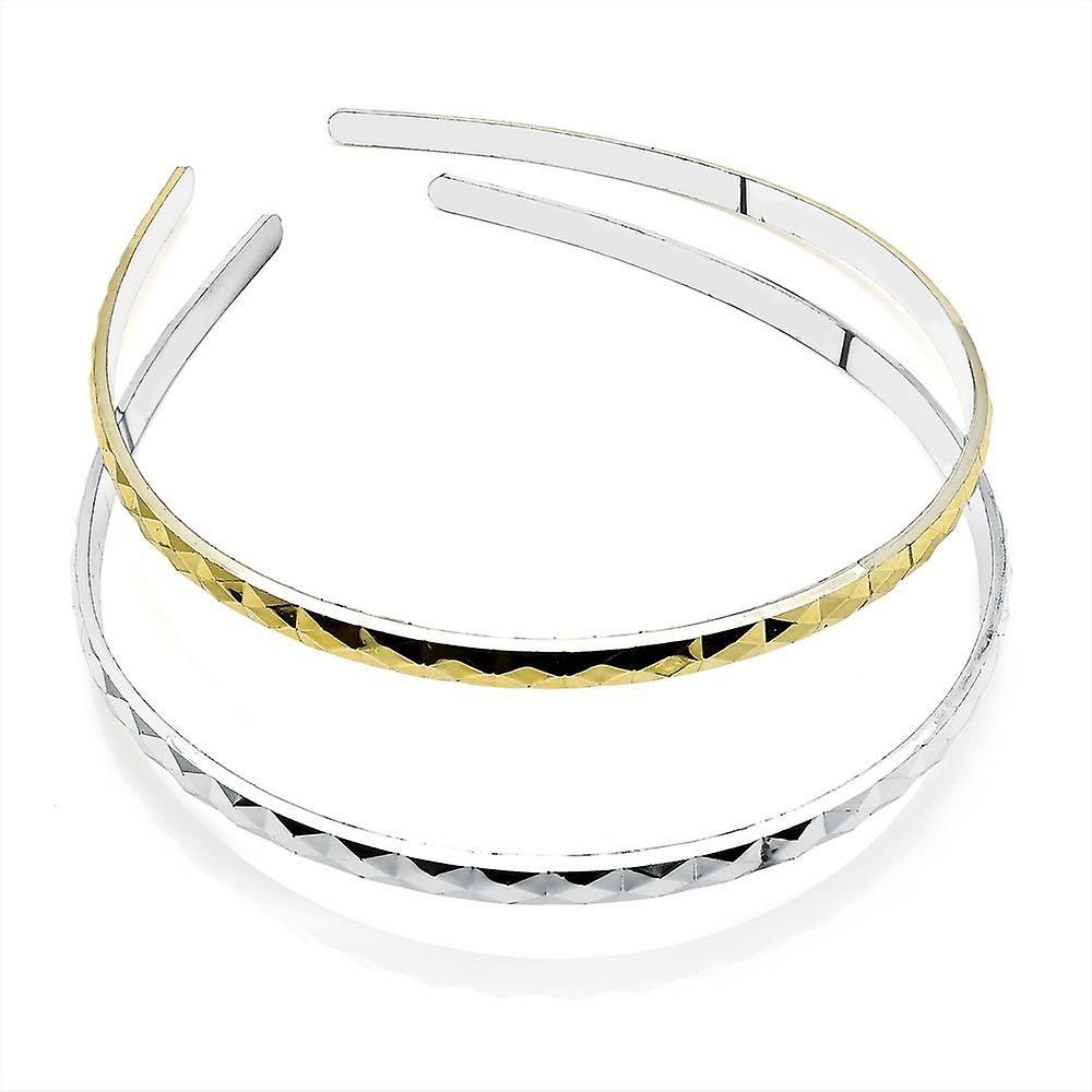 6mm Silver and Gold Diamond Cut Aliceband Head Band Hair Accessory Set