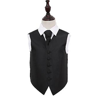 Boy's Black Greek Key Patterned Wedding Waistcoat & Cravat Set