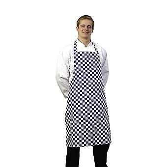 Zodiac Bib Apron with Large Blue & White Check