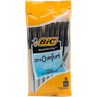Bic Ultra Round Stic Grip Ball Pens Medium Point 8 Pkg Black Gsmgp81 Blk