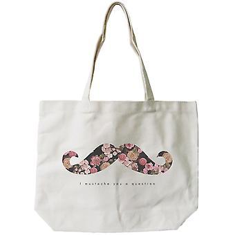 Bolso de la lona de las mujeres-I usted una pregunta lona impresión Floral bolsa bolsa de bigote