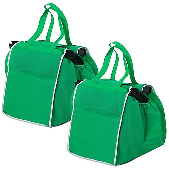 TRIXES-Packung mit 2 grünen faltbare Grocery Shopping Bags