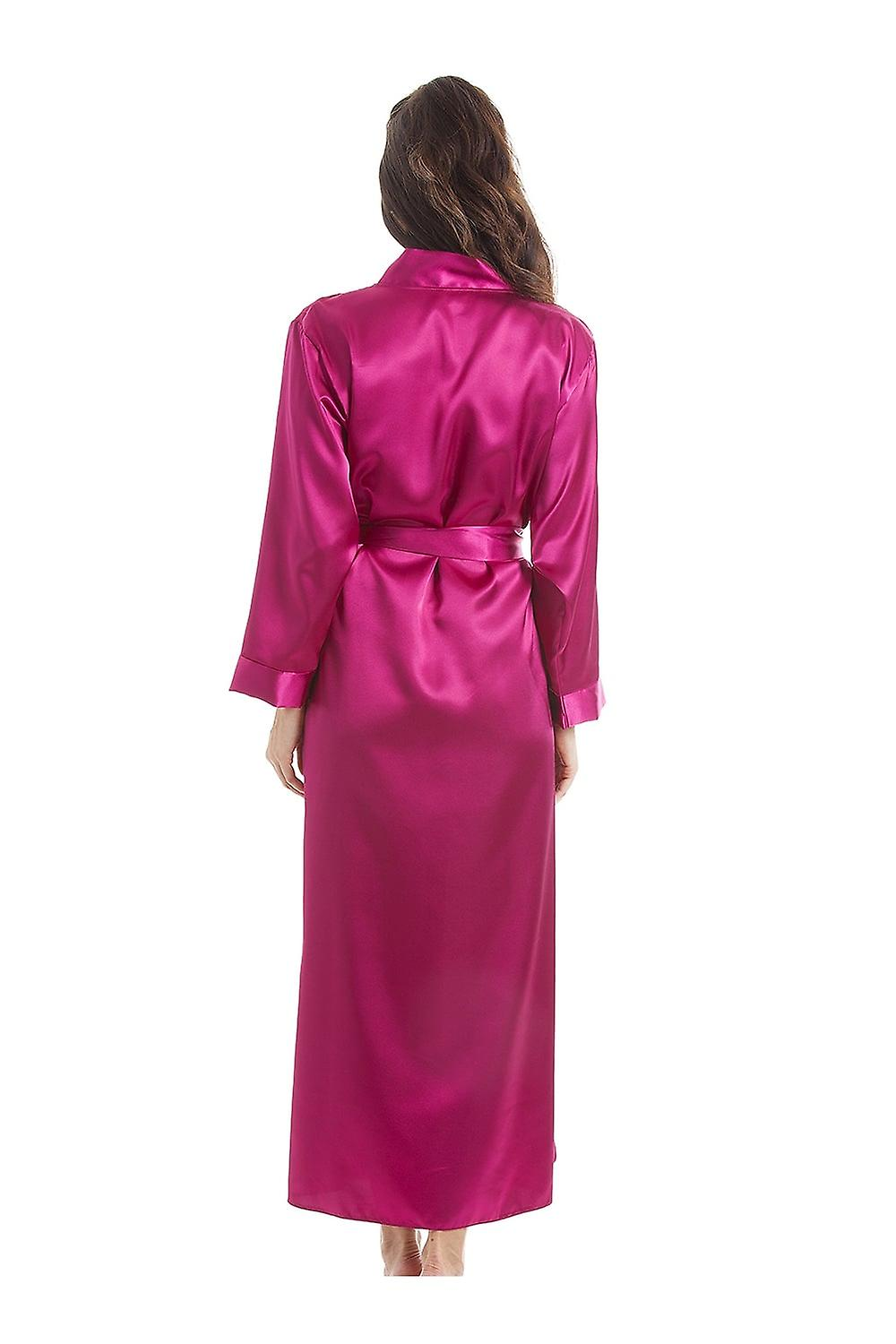 Camille Luxury Pink Satin Long Length Dressing Gown Wrap