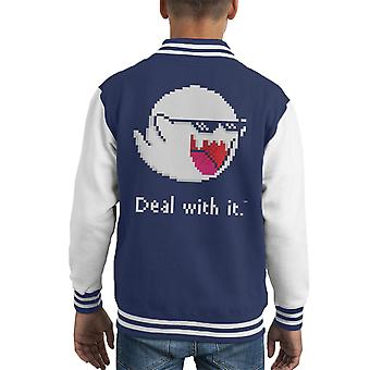 Deal With The Boos Mario Ghost Kid's Varsity Jacket