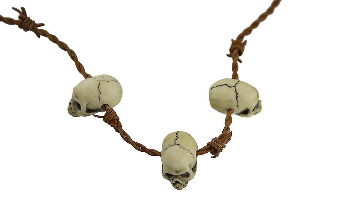 Gothic Barbed Wire 3 Skull Necklace Costume Accessory