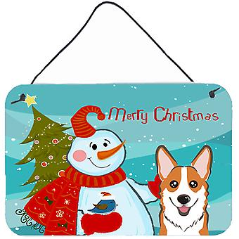 Snowman with Red Corgi Wall or Door Hanging Prints