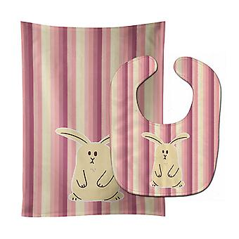 Carolines Treasures  BB7084STBU Rabbit on Stripes Baby Bib & Burp Cloth