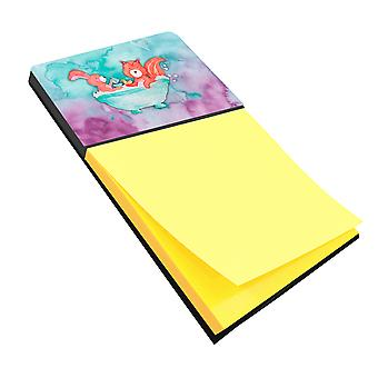 Rabbit and Squirrel Bathing Watercolor Sticky Note Holder