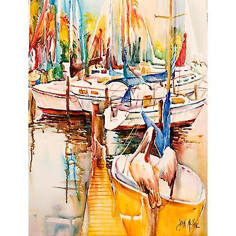 Carolines tesori JMK1160GF Barche a vela e pellicani bandiera del giardino