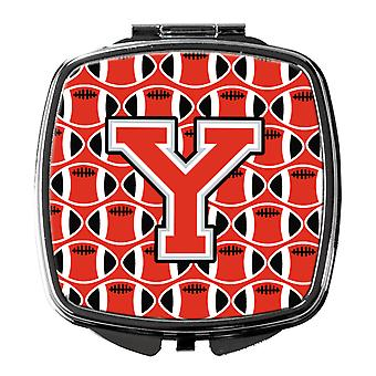 Letter Y Football Scarlet and Grey Compact Mirror