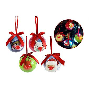 Christmas Baubles blinkende LED træ dekorationer Santa rensdyr snemand Pack 4