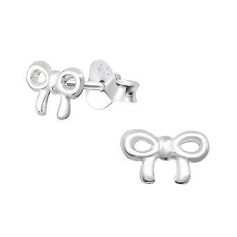 Bow - 925 Sterling Silver Plain Ear Studs