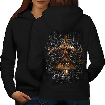 Triangle Society Women BlackHoodie Back | Wellcoda